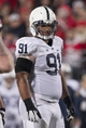 Oct 26, 2013; Columbus, OH, USA; Penn State Nittany Lions defensive tackle DaQuan Jones (91) waits for the end of a timeout in the game against the Ohio State Buckeyes at Ohio Stadium. Mandatory Credit: Greg Bartram-USA TODAY Sports