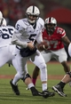 Oct 26, 2013; Columbus, OH, USA; Penn State Nittany Lions quarterback Tyler Ferguson (5) sets up for a handoff agaisnt the Ohio State Buckeyes at Ohio Stadium. Mandatory Credit: Greg Bartram-USA TODAY Sports