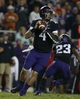 Oct 26, 2013; Fort Worth, TX, USA; TCU Horned Frogs quarterback Casey Pachall (4) throws a pass in the third quarter of the game against the Texas Longhorns at Amon G. Carter Stadium. Mandatory Credit: Tim Heitman-USA TODAY Sports