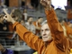 Oct 26, 2013; Fort Worth, TX, USA; Texas Longhorns head coach Mack Brown waves to the crowd after the game against the TCU Horned Frogs at Amon G. Carter Stadium. The Texas Longhorns beat the TCU Horned Frogs 30-7. Mandatory Credit: Tim Heitman-USA TODAY Sports
