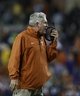 Oct 26, 2013; Fort Worth, TX, USA; Texas Longhorns head coach Mack Brown on the field during the game against the TCU Horned Frogs at Amon G. Carter Stadium. The Texas Longhorns beat the TCU Horned Frogs 30-7. Mandatory Credit: Tim Heitman-USA TODAY Sports
