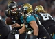 Oct 27, 2013; London, UNITED KINGDOM; Jacksonville Jaguars quarterback Chad Henne (7) prepares to hand off against the San Francisco 49ers during an International Series game at Wembley Stadium. Mandatory Credit: Bob Martin-USA TODAY Sports