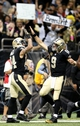 Oct 27, 2013; New Orleans, LA, USA; New Orleans Saints quarterback Drew Brees (9) celebrates with wide receiver Kenny Stills (84) after a touchdown during the second half at Mercedes-Benz Superdome. New Orleans defeated Buffalo 35-17. Mandatory Credit: Crystal LoGiudice-USA TODAY Sports