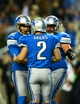 Oct 27, 2013; Detroit, MI, USA; Detroit Lions kicker David Akers (2) celebrates with teammate after kicking the game winning extra point during the fourth quarter to defeat the Dallas Cowboys 31-30 at Ford Field. Mandatory Credit: Andrew Weber-USA TODAY Sports