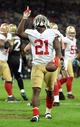 Oct 27, 2013; London, UNITED KINGDOM; San Francisco 49ers running back Frank Gore (21) celebrates after scoring a touchdown against the Jacksonville Jaguars during an International Series game at Wembley Stadium. Mandatory Credit: Bob Martin-USA TODAY Sports