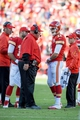 Oct 27, 2013; Kansas City, MO, USA; Kansas City Chiefs head coach Andy Reid talks with quarterback Alex Smith (11) during a timeout in the second half of the game against the Cleveland Browns at Arrowhead Stadium. The Chiefs won 23-17.  Mandatory Credit: Denny Medley-USA TODAY Sports