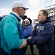 Oct 27, 2013; Foxborough, MA, USA; New England Patriots head coach Bill Belichick shakes hands with Miami Dolphins head coach Joe Philbin after New England's 27-17 win at Gillette Stadium. Mandatory Credit: Winslow Townson-USA TODAY Sports