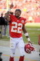 Oct 27, 2013; Kansas City, MO, USA; Kansas City Chiefs wide receiver Dexter McCluster (22) celebrates as he leaves the field after the game against the Cleveland Browns at Arrowhead Stadium. The Chiefs won 23-17.  Mandatory Credit: Denny Medley-USA TODAY Sports