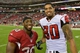 Oct 27, 2013; Phoenix, AZ, USA; Arizona Cardinals running back Stepfan Taylor (30) and Atlanta Falcons tight end Levine Toilolo (80), both former players for the Stanford Cardinal pose after the game at University of Phoenix Stadium. Mandatory Credit: Matt Kartozian-USA TODAY Sports
