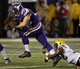 Oct 27, 2013; Minneapolis, MN, USA; Minnesota Vikings running back Toby Gerhart (32) breaks the tackle of Green Bay Packers safety Chris Banjo (32) for a 13 yard touchdown in the fourth quarter at Mall of America Field at H.H.H. Metrodome. The Packers win 44-31. Mandatory Credit: Bruce Kluckhohn-USA TODAY Sports