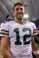 Oct 27, 2013; Minneapolis, MN, USA; Green Bay Packers quarterback Aaron Rodgers (12) smiles following the game against the Minnesota Vikings at Mall of America Field at H.H.H. Metrodome. The Packers defeated the Vikings 44-31. Mandatory Credit: Brace Hemmelgarn-USA TODAY Sports