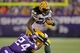Oct 27, 2013; Minneapolis, MN, USA; Green Bay Packers running back Eddie Lacy (27) is tackled by Minnesota Vikings cornerback A.J. Jefferson (24) during the fourth quarter at Mall of America Field at H.H.H. Metrodome. The Packers defeated the Vikings 44-31. Mandatory Credit: Brace Hemmelgarn-USA TODAY Sports
