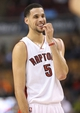 Oct 23, 2013; Toronto, Ontario, CAN; Toronto Raptors forward Austin Daye (5) reacts during their game against the Memphis Grizzlies at Air Canada Centre. The Raptors beat the Grizzlies 108-72. Mandatory Credit: Tom Szczerbowski-USA TODAY Sports