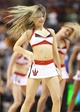 Oct 11, 2013; Toronto, Ontario, CAN; A member of the Toronto Raptors dance pack performs during a break in the action of a game against the New York Knicks at Air Canada Centre. The Raptors beat the Knicks 100-91. Mandatory Credit: Tom Szczerbowski-USA TODAY Sports