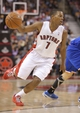 Oct 11, 2013; Toronto, Ontario, CAN; Toronto Raptors point guard Kyle Lowry (7) makes a move to the basket against the New York Knicks at Air Canada Centre. The Raptors beat the Knicks 100-91. Mandatory Credit: Tom Szczerbowski-USA TODAY Sports