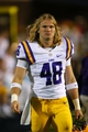 Oct 19, 2013; Oxford, MS, USA; LSU Tigers linebacker Seth Fruge (48) during the game against the Mississippi Rebels at Vaught-Hemingway Stadium. Mississippi Rebels defeat the LSU Tigers 27-24.  Mandatory Credit: Spruce Derden-USA TODAY Sports