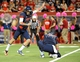 Oct 19, 2013; Tucson, AZ, USA; Arizona Wildcats kicker Jake Smith (86) attempts a field goal during the fourth quarter against the Utah Utes at Arizona Stadium. Arizona beat Utah 35-44. Mandatory Credit: Casey Sapio-USA TODAY Sports