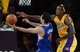 Oct 29, 2013; Los Angeles, CA, USA;  Los Angeles Lakers center Jordan Hill (27) blocks a shot by Los Angeles Clippers shooting guard J.J. Redick (4) in the second half of the game at Staples Center. Lakers won 116-103. Mandatory Credit: Jayne Kamin-Oncea-USA TODAY Sports