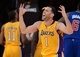 Oct 29, 2013; Los Angeles, CA, USA; Los Angeles Lakers point guard Jordan Farmar (1) reacts to a foul call in the second half of the game against the Los Angeles Lakers at the at Staples Center. Lakers won 116-103. Mandatory Credit: Jayne Kamin-Oncea-USA TODAY Sports
