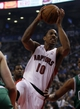 Oct 30, 2013; Toronto, Ontario, CAN; Toronto Raptors guard DeMar DeRozan (10) drives to the net against the Boston Celtics during the first half at the Air Canada Centre. Mandatory Credit: John E. Sokolowski-USA TODAY Sports