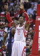 Oct 30, 2013; Houston, TX, USA; Houston Rockets center Dwight Howard (12) reacts after a call during the second quarter against the Charlotte Bobcats at Toyota Center. Mandatory Credit: Troy Taormina-USA TODAY Sports