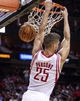 Oct 30, 2013; Houston, TX, USA; Houston Rockets small forward Chandler Parsons (25) dunks the ball during the second quarter against the Charlotte Bobcats at Toyota Center. Mandatory Credit: Troy Taormina-USA TODAY Sports