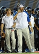 Oct 30, 2013; Memphis, TN, USA; Memphis Tigers head coach Justin Fuente reacts to a play against Cincinnati Bearcats during the second quarter at Liberty Bowl Memorial. Mandatory Credit: Justin Ford-USA TODAY Sports