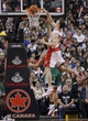 Oct 30, 2013; Toronto, Ontario, CAN; Toronto Raptors forward Tyler Hansbrough (50) gets a basket against the Boston Celtics at the Air Canada Centre. Toronto defeated Boston 93-87. Mandatory Credit: John E. Sokolowski-USA TODAY Sports