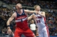 Oct 30, 2013; Auburn Hills, MI, USA; Washington Wizards center Marcin Gortat (4) boxes out Detroit Pistons shooting guard Kyle Singler (25) during the fourth quarter at The Palace of Auburn Hills. Pistons won 113-102. Mandatory Credit: Tim Fuller-USA TODAY Sports