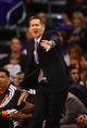 Oct 30, 2013; Phoenix, AZ, USA; Phoenix Suns head coach Jeff Hornacek reacts in the first half against the Portland Trail Blazers at US Airways Center. Mandatory Credit: Mark J. Rebilas-USA TODAY Sports