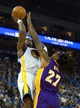 Oct 30, 2013; Oakland, CA, USA; Golden State Warriors center Jermaine O'Neal (7) shoots the ball against Los Angeles Lakers center Jordan Hill (27) during the fourth quarter at Oracle Arena. The Golden State Warriors defeated the Los Angeles Lakers 125-94. Mandatory Credit: Kelley L Cox-USA TODAY Sports