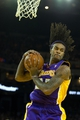 Oct 30, 2013; Oakland, CA, USA; Los Angeles Lakers center Jordan Hill (27) pulls in a rebound against the Golden State Warriors during the fourth quarter at Oracle Arena. The Golden State Warriors defeated the Los Angeles Lakers 125-94. Mandatory Credit: Kelley L Cox-USA TODAY Sports