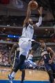 Oct 25, 2013; Dallas, TX, USA; Dallas Mavericks shooting guard Wayne Ellington (21) drives to the basket during the game against the Indiana Pacers at the American Airlines Center. The Pacers defeated the Mavericks 98-77. Mandatory Credit: Jerome Miron-USA TODAY Sports