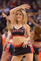 Oct 21, 2013; Toronto, Ontario, CAN; A Toronto Raptors cheerleader entertains the fans during a game against the New York Knicks at the Air Canada Centre.Toronto won the game in overtime123-120. Mandatory Credit: Mark Konezny-USA TODAY Sports