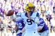 Oct 26, 2013; Manhattan, KS, USA; West Virginia Mountaineers quarterback Clint Trickett (9) attempts a pass against the Kansas State Wildcats during the second half at Bill Snyder Family Stadium. The Wildcats defeat the Mountaineers 35-12. Mandatory Credit: Jasen Vinlove-USA TODAY Sports