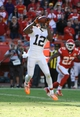 Oct 27, 2013; Kansas City, MO, USA; Cleveland Browns wide receiver Josh Gordon (12) catches a pass against the Kansas City Chiefs in the second half at Arrowhead Stadium. The Chiefs won the game 23-17. Mandatory Credit: John Rieger-USA TODAY Sports
