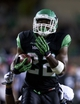 Oct 31, 2013; Denton, TX, USA; North Texas Mean Green running back Antoinne Jimmerson (22) runs a touchdown against the Rice Owls during the second half at Apogee Stadium. The Mean Green defeated the Owls 28-16. Mandatory Credit: Jerome Miron-USA TODAY Sports