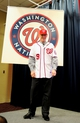 Nov 1, 2013; Washington, DC, USA; Washington Nationals manager Matt Williams (9) poses for pictures during the press conference at Nationals Park. Mandatory Credit: Evan Habeeb-USA TODAY Sports