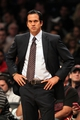 Nov 1, 2013; Brooklyn, NY, USA; Miami Heat head coach Erik Spoelstra against the Brooklyn Nets during the first quarter of a game at Barclays Center. Mandatory Credit: Brad Penner-USA TODAY Sports