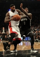 Nov 1, 2013; Brooklyn, NY, USA; Miami Heat small forward LeBron James (6) drives on Brooklyn Nets center Andray Blatche (0) during the second quarter of a game at Barclays Center. Mandatory Credit: Brad Penner-USA TODAY Sports