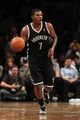Nov 1, 2013; Brooklyn, NY, USA; Brooklyn Nets shooting guard Joe Johnson (7) controls the ball against the Miami Heat during the third quarter of a game at Barclays Center. Mandatory Credit: Brad Penner-USA TODAY Sports