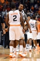 Nov 1, 2013; Phoenix, AZ, USA; Phoenix Suns guard Eric Bledsoe (2) is congratulated by guard Ish Smith (3) after scoring the game winning 3 pointer against the Utah Jazz in the second half at US Airways Center. The Suns defeated the Jazz 87-84.  Mandatory Credit: Jennifer Stewart-USA TODAY Sports
