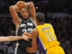 November 1, 2013; Los Angeles, CA, USA; San Antonio Spurs power forward Boris Diaw (33) controls the ball against the Los Angeles Lakers during the second half at Staples Center. Mandatory Credit: Gary A. Vasquez-USA TODAY Sports