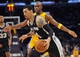 November 1, 2013; Los Angeles, CA, USA; San Antonio Spurs shooting guard Danny Green (4) moves the ball against the Los Angeles Lakers during the second half at Staples Center. Mandatory Credit: Gary A. Vasquez-USA TODAY Sports