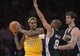 November 1, 2013; Los Angeles, CA, USA; Los Angeles Lakers center Jordan Hill (27) controls the ball against the San Antonio Spurs during the second half at Staples Center. Mandatory Credit: Gary A. Vasquez-USA TODAY Sports