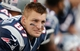 Oct 27, 2013; Foxborough, MA, USA; New England Patriots tight end Rob Gronkowski looks on during the fourth quarter against the Miami Dolphins at Gillette Stadium. Mandatory Credit: Winslow Townson-USA TODAY Sports