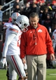 Nov 2, 2013; West Lafayette, IN, USA; Ohio State Buckeyes head coach Urban Meyer talks with quarterback Kenny Guiton (13) before the game with the Purdue Boilermakers at Ross Ade Stadium. Mandatory Credit: Sandra Dukes-USA TODAY Sports