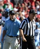 Nov 2, 2013; Raleigh, NC, USA; North Carolina Tar Heels head coach Larry Fedora stares at an official in the first half against the North Carolina State Wolfpack at Carter Finley Stadium. Mandatory Credit: Rob Kinnan-USA TODAY Sports