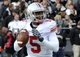 Nov 2, 2013; West Lafayette, IN, USA;  Ohio State Buckeyes quarterback Braxton Miller (5) look to pass in the first half against the Purdue Boilermakers at Ross Ade Stadium. Mandatory Credit: Sandra Dukes-USA TODAY Sports