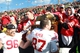 Nov 2, 2013; Iowa City, IA, USA;  Wisconsin Badgers nose guard Beau Allen (96) and defensive end Ethan Hemer (87) share the Heartland Trophy with fans after their win against the Iowa Hawkeyes at Kinnick Stadium.  Wisconsin beat Iowa 28-9.  Mandatory Credit: Reese Strickland-USA TODAY Sports